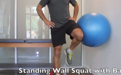 Standing wall squat with ball